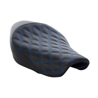 Renegade LS Solo Seat with Blue Double Diamond Lattice Stitch. Fits Sportster 2004up with 4.5 Gallon Fuel Tank.