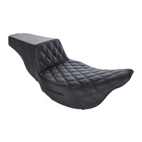 Step-Up LS Dual Seat with Black Double Diamond Lattice Stitch. Fits Touring 2008up.